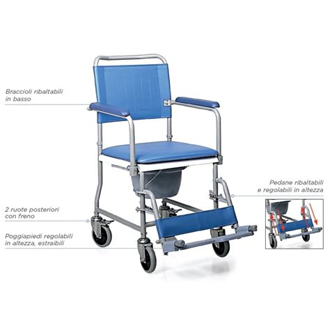 sedia comoda per anziani sedia comoda smontabile a 4 ruote rc210 dim 45cm