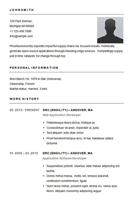 Simple Resume Template by 70 Basic Resume Templates Pdf Doc Psd Free