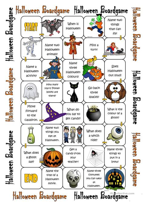 printable board games for teachers halloween boardgame worksheet free esl printable