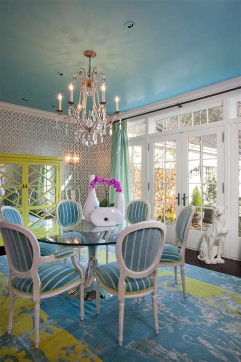 turquoise dining room  bright yellow accents hgtv