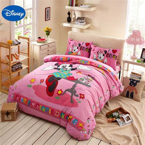 bed covers for girls dance minnie mouse bedding sets cotton bedclothes cartoon disney print bed covers
