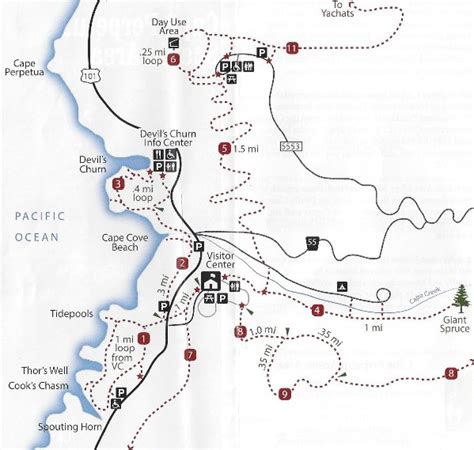 map of oregon lookouts cape perpetua scenic area lookout trails