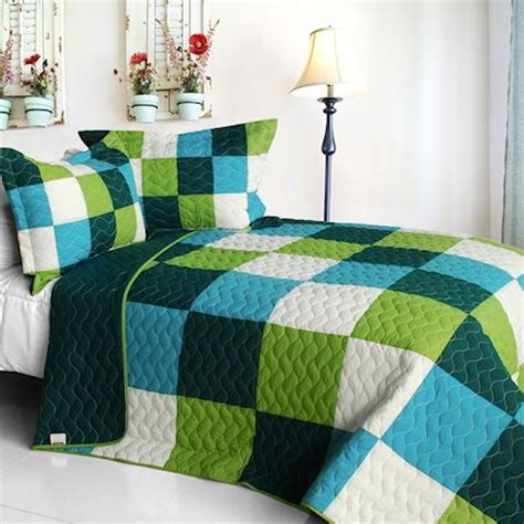 minecraft bedding set green blue minecraft blocks boys bedding full queen quilt