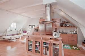 Attic Apartment Ideas by Wooden Kitchen For Attic Apartment Decoration Ideas