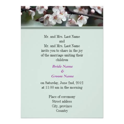 Wedding Announcement By And Groom by And Groom Parents Wedding Invitation 5 5 Quot X 7 5
