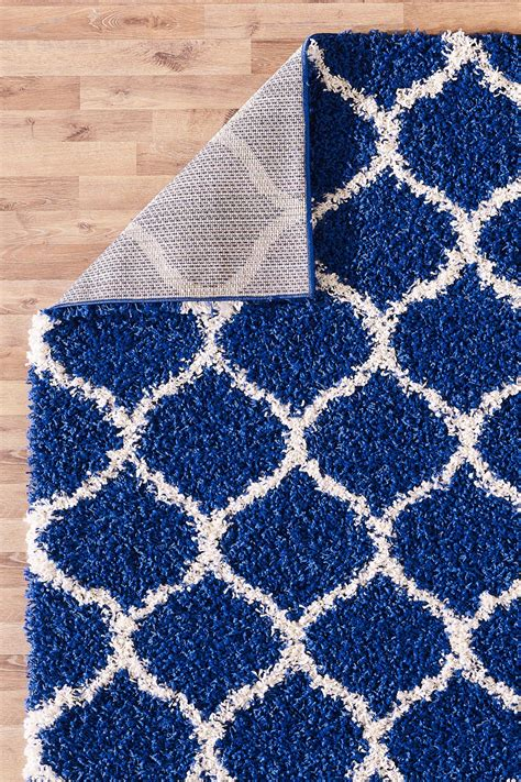 rugs contemporary uk modern royal blue trellis shaggy carpet contemporary moroccan area rug thick 5cm ebay