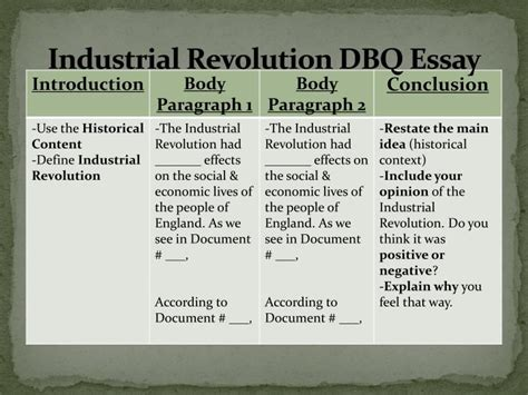 Industrial Revolution Essay Questions by Ppt Aim How Do We Write A Dbq Essay On The Industrial Revolution Powerpoint Presentation