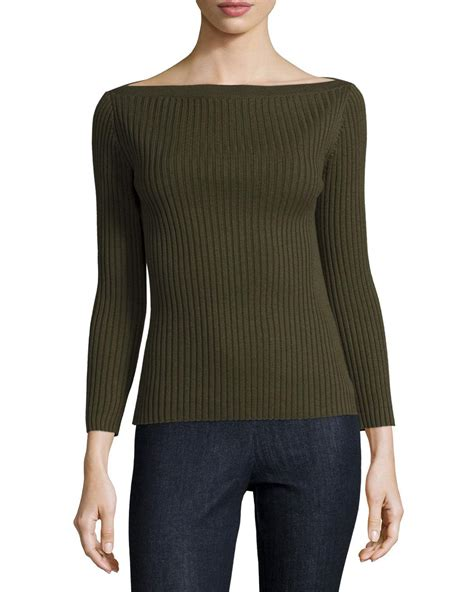 boat neck ribbed sweater theory sandora ribbed boat neck sweater in green lyst