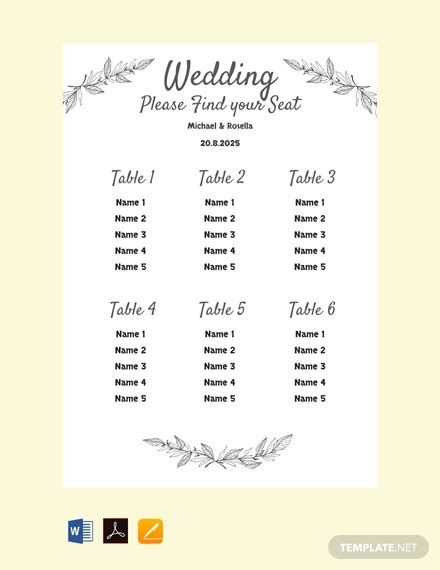 printable wedding seating chart template  word
