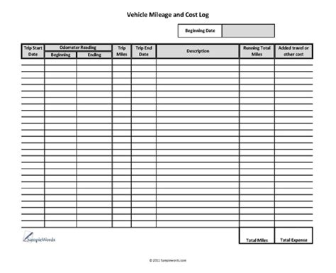 18 best images of mileage expense worksheets free