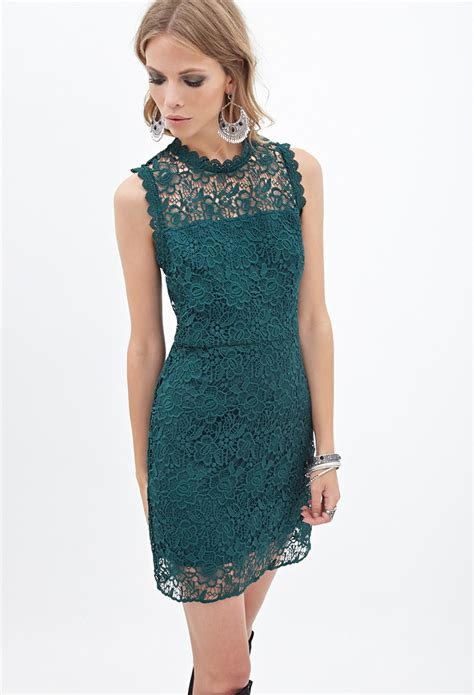 Forever21 Lace Dress lyst forever 21 floral lace dress in green