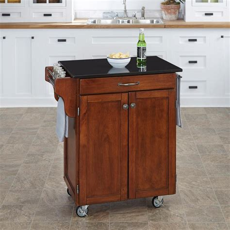 home styles create a cart red kitchen cart with stainless home styles create a cart cherry kitchen cart with black