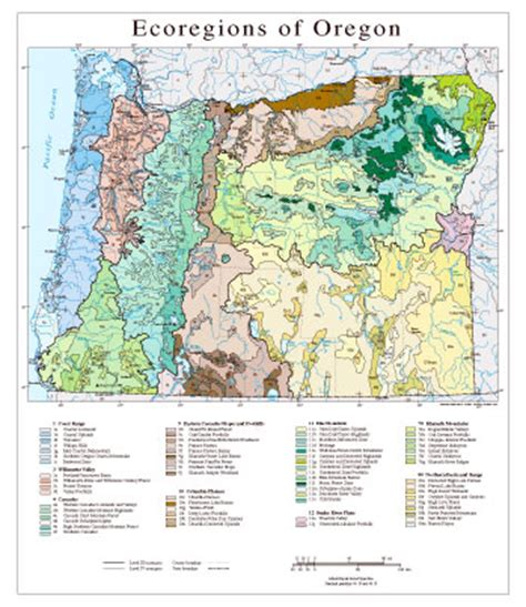 map of oregon landforms level iii and iv ecoregions of oregon cascadia