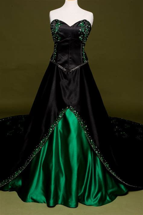 Dress Green Black black wedding dress with green embroidery custom made in your size poison style fitted