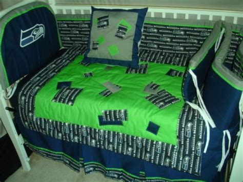 Nfl Crib Bedding Sets Details About Custom Made Baby Nursery Crib Bedding Set Made W Seattle Seahawks Nfl Fabric New