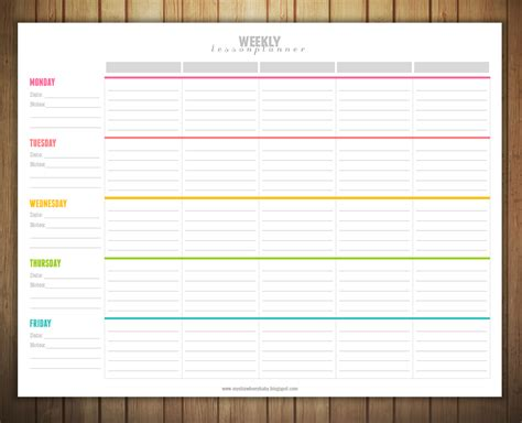 week at a glance lesson plan template free printable weekly lesson plan template lesson plans