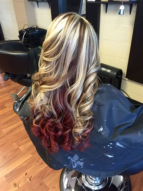 brown hair with red underneath platinum blonde with mocha brown lowlights and red