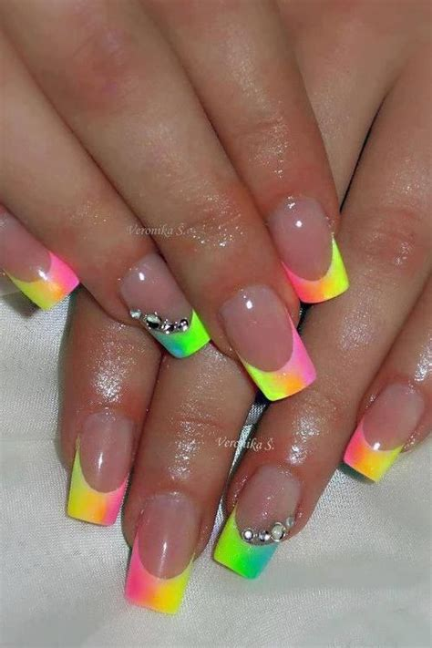 bright pattern nails best 20 colored french tips ideas on pinterest