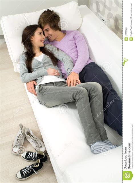 couch couple couple lying on couch stock image image of love