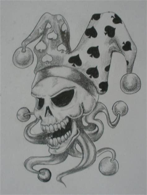 tattoo skull joker grey ink jester joker skull tattoo design