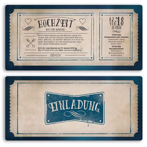 Hochzeitseinladung Eintrittskarte by Hochzeitskarten Als Eintrittskarte Im Vintagestyle Ab 55