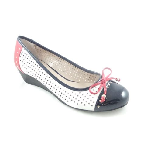 lotus elizabeth perforated white leather and navy patent