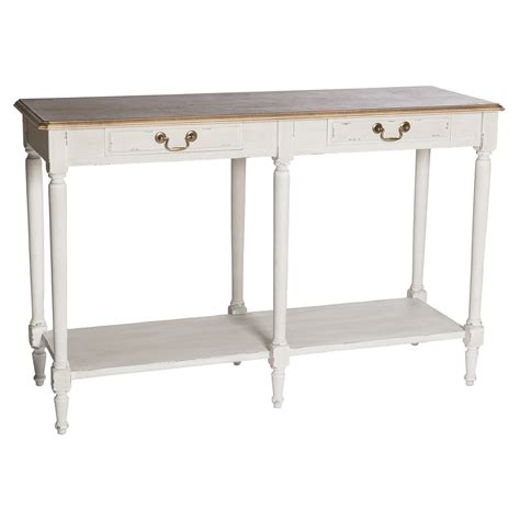 poitiers white shabby chic 2 drawer large console table hd365