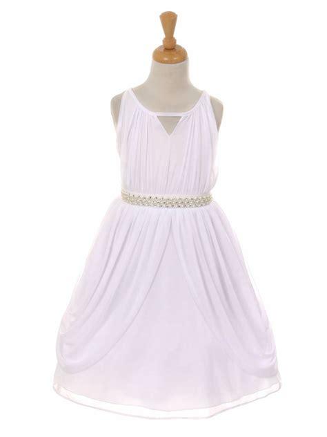 white chiffon pleated pearl belt dress