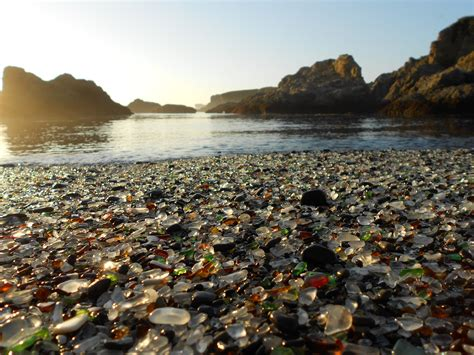 beach of glass beach of polished sea glass in fort bragg one bite at