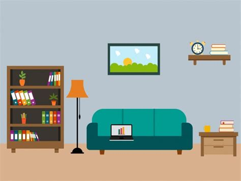 Living Room Flat Design Vector Living Room With Wooden Furniture In Flat Design Vector