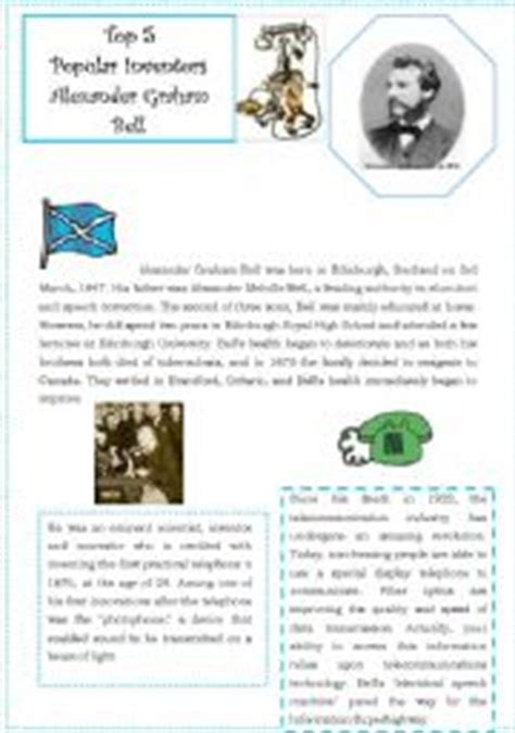 alexander graham bell biography worksheet english teaching worksheets alexander graham bell
