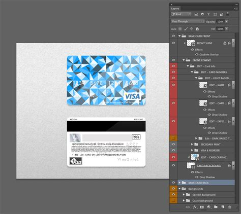 Credit Template Photoshop Bank Card Credit Card Layout Psd Template Front Back Smart Layer Card Number Smart
