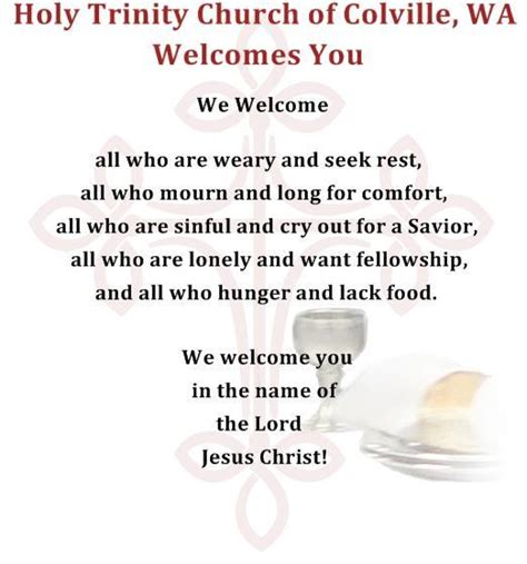 church welcome letter to visitors