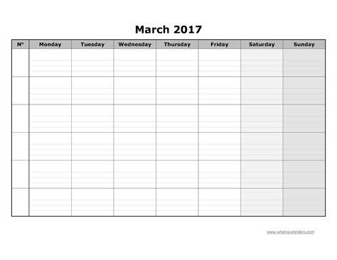 Blank March Calendar Blank Calendar March 2017 Template Printable Calendar