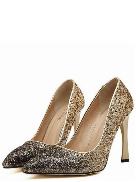 sequin high heel shoes gold silver sequin pointed high heel shoes