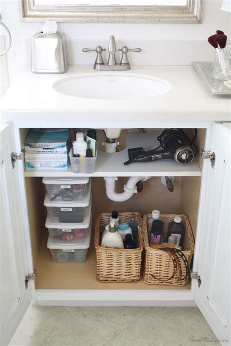 organize bathroom cabinet sink creative sink storage ideas hative