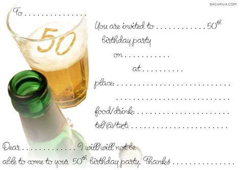 template for 50th birthday invitations free printable free 50th birthday invitations wording bagvania