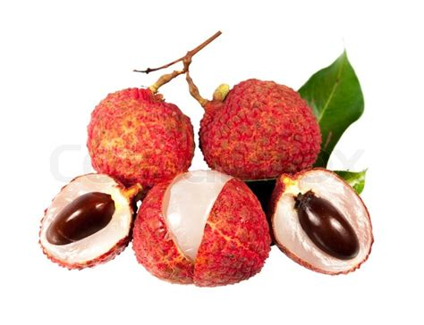 lychee fruit inside ripe fruit of the lychee tree litchi chinensis stock