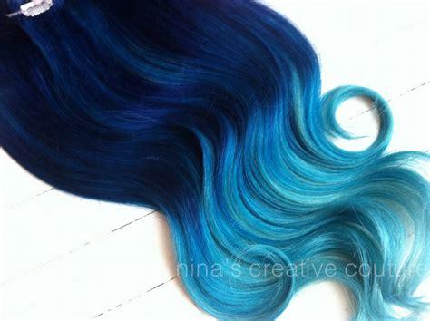 18 blue 100 human hair clip on in extensions 2pcs diy blue ombre hair ideas fashion
