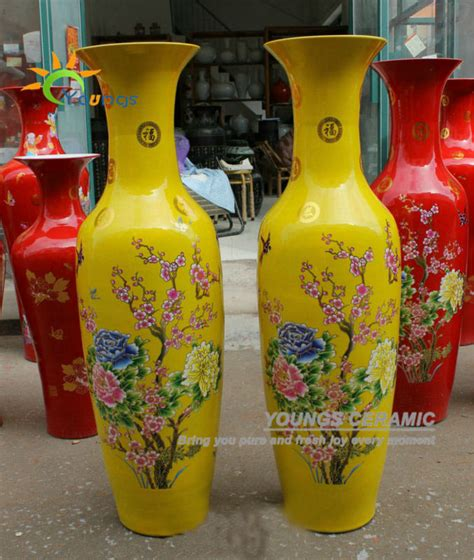 Large Yellow Floor Vase Ceramic Yellow Colour Large Decorative Floor Vases