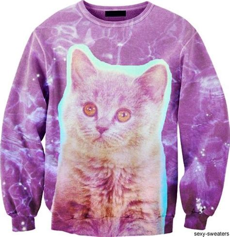 Cat Sweaters - purple galaxy cat sweater clothes