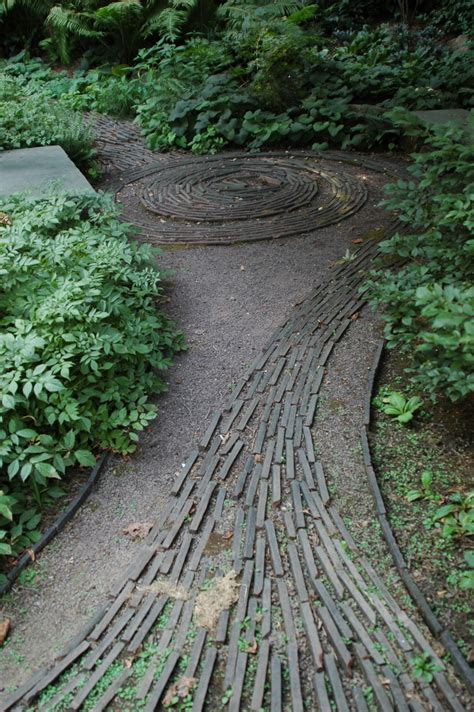 garden path with lath wood on gravel if i had a green