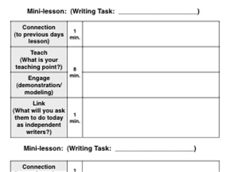 writing workshop lesson plan template search results for calkins lesson plan template