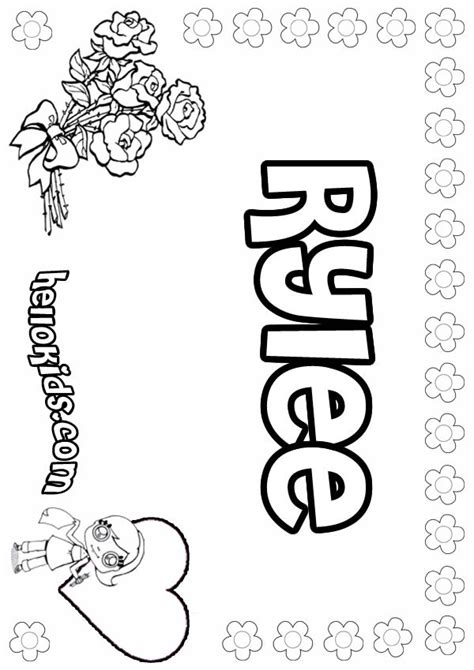coloring pages of girl names girls name coloring pages rylee girly name to color