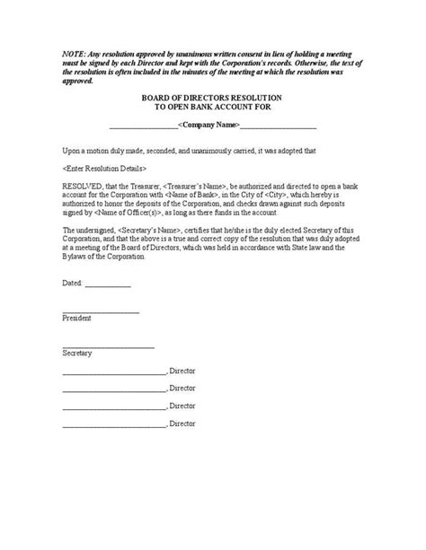 llc resolution template llc resolution template to open bank account templates