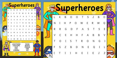 printable word search superheroes superhero themed differentiated wordsearch superheroes
