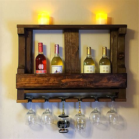 Wooden Wine Shelf by Wooden Wine Rack Hanging Wine Glass Rack Rustic Wine