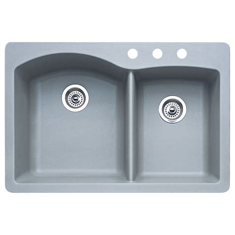 Shop Blanco Diamond 22 In X 33 In Metallic Grey Double Drop In Kitchen Sinks