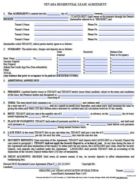 Free Nevada Residential Lease Agreement Pdf Word Doc Nevada Residential Lease Agreement Template