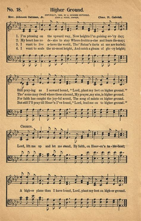 Standing On Couches Lyrics by Sonday Higher Ground Antique Hymn Page Printable